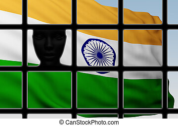silhouette head behind bars with flag of India