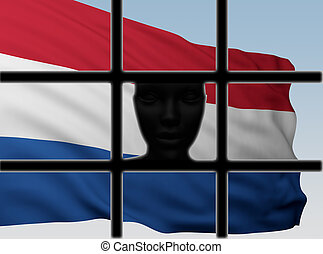 silhouette head behind bars with flag of Netherlands