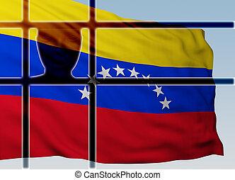 silhouette head behind bars with flag of Venezuela