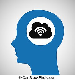 silhouette head cloud wireless wifi icon