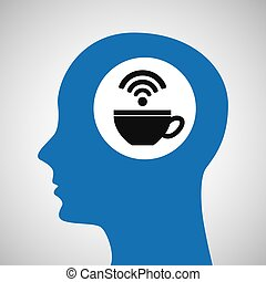 silhouette head cup coffee wifi icon
