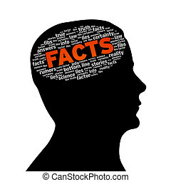 Silhouette head with the word facts on white background.