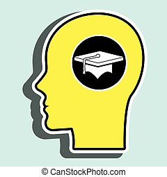 silhouette head graduation cap