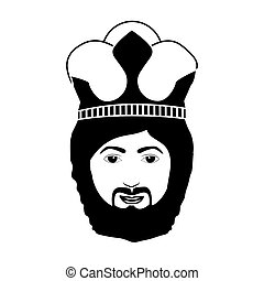 silhouette head king with beard and crown