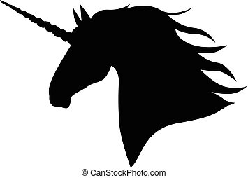 Silhouette head mycology unicorn - Vector illustrations of...