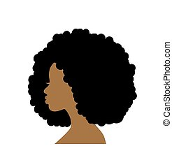 Silhouette head of an african woman in profile