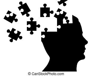 Silhouette head with puzzle pieces on white background.