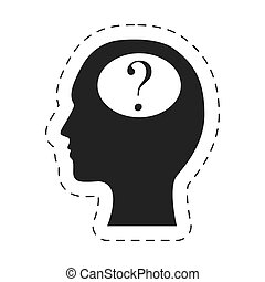 silhouette head question mark image vector illustration eps...