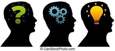 Silhouette heads of a thinking process on white background.