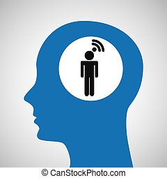 silhouette head wireless wifi man icon