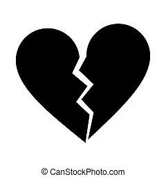 silhouette heart broken sad separation