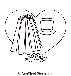 silhouette heart costume veil bride with hat groom
