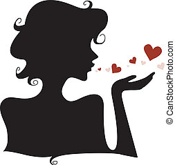 Silhouette Hearts - Silhouette of a Girl Blowing Hearts Away