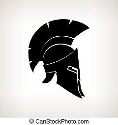 Silhouette helmet on a light background, vector illustration...