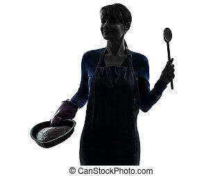 silhouette, het koken, gebakje, vrouw, taart