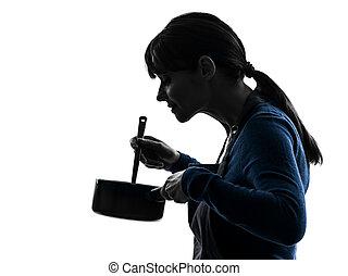 silhouette, het koken, vrouw, pan, vermenging