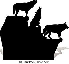 silhouette, heulen, oberseite, drei, karikatur, hintergrund, schwarz, felsformation, weiße wölfe