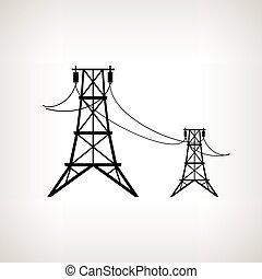 Silhouette high voltage power lines , vector illustration - ...
