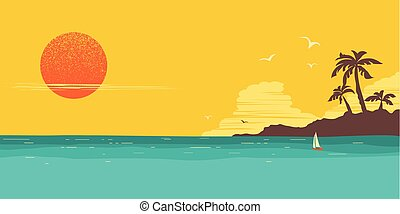 silhouette, hintergrund, handflächen, insel, tropische , wasserlandschaft, horizont, paradies