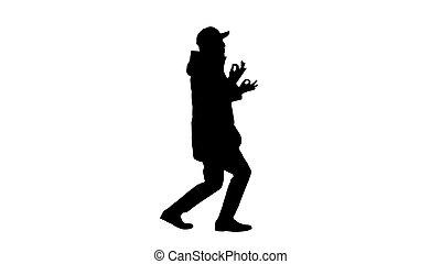 silhouette, hip-hop, uomo, rap, canto, camminare, gestures...