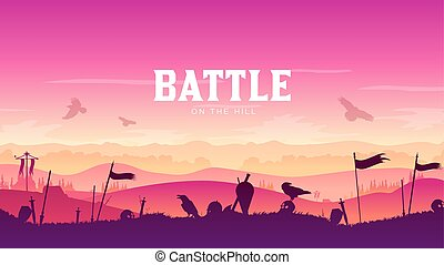 Silhouette historical battlefield at sunset design. Military silhouettes fighting scene on knight war landscape background. Medieval battle scattered arms and armor around the field illustration