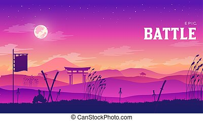 Silhouette historical battlefield at sunset design. Military silhouettes fighting scene on Samurai war landscape background. Medieval battle scattered arms and armor around the field illustration