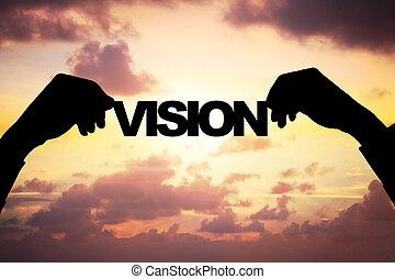 silhouette, homme affaires, coucher soleil, tenant mains, pendant, vision