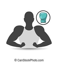 silhouette, homme, projection, muscle, à, gant boxe