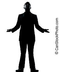 silhouette, homme, regarder, business, une, haut, plein d'espoir
