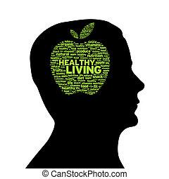 silhouette, hoofd, -, gezond leven