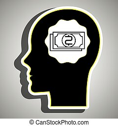 silhouette, hoofd, rekeningen, dollar