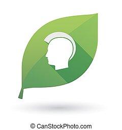 silhouette, hoofd, vrijstaand, punker, groen blad, mannelijke
