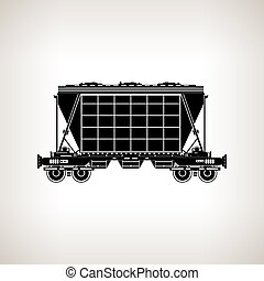 Silhouette hopper car on a light background