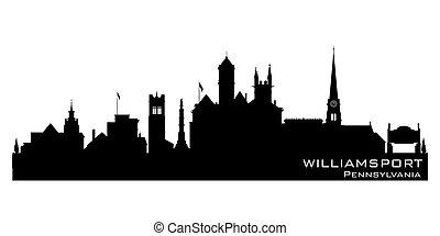 silhouette, horizon, pennsylvanie, ville, williamsport, ...