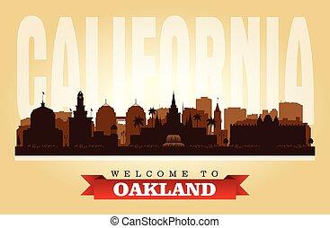 silhouette horizon, ville, oakland, vecteur, californie