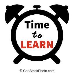 silhouette, horloge, apprendre, theme., clock., isolé, temps, education, lettering.
