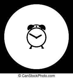 silhouette, horloge, simple, reveil, noir, eps10, icône