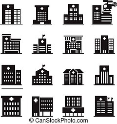 silhouette Hospital icon set
