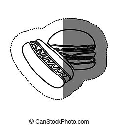 silhouette hot dog and hamburger icon