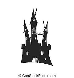 silhouette, house., image, halloween, isolé, élément, fantasme, conception, tower., fond, spooky, gothique, blanc, partie., castle., noir