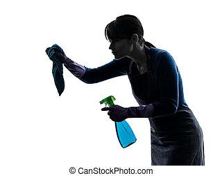silhouette, housework, sprayer, maid, vrouw