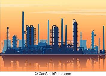 silhouette, huile, arrière-plan., raffinerie, illustration., vecteur, coucher soleil