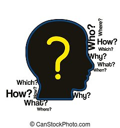 Silhouette human head with a lot of questions. Vector.