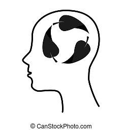 silhouette human leaf brain thinking idea isolated