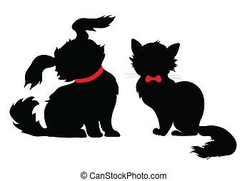 silhouette, hund, katz