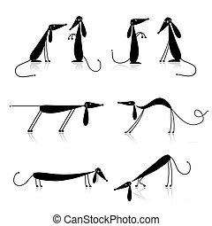 silhouette, hunden, schwarz, dein, sammlung, design, ...