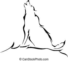 silhouette, hurlement, isolé, arrière-plan., loup, blanc, ...