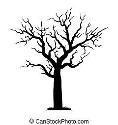 silhouette, icône, arbre, enchanté, style
