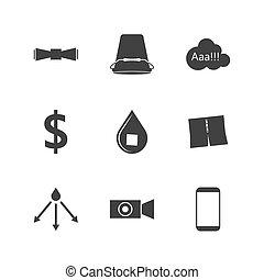 silhouette, icônes, défi, seau, glace, vecteur, noir