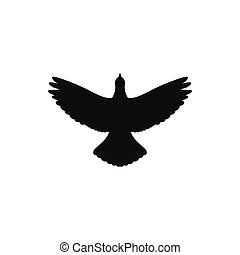 Silhouette icon flying up bird. Vector